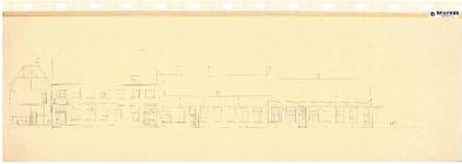 10001431 Gevelwand geveltekening aan de Weeshuistuin met deel doorsnede Weeshuis tot en met het poortje, Hoorn, Korte ...