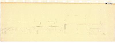10001432 Gevelwand geveltekening langs de Weeshuistuin tussen Korte Achterstraat en het poortje, Hoorn, ongedateerd