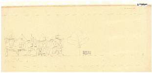 10001435 Gevelwand tussen het hek van de kerk en Nieuwstraat 9, met bovenaanzicht voorgevels met portieken, Hoorn, ...