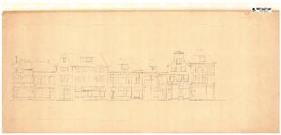 10001436 Gevelwand Nieuwstraat 1 tot en met 13, met bovenaanzicht voorgevels, Hoorn, Nieuwstraat 1-13, ongedateerd