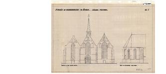10001443 St. Maria- of Noorderkerk, nieuwe toestand, gevel aan het Kleine Noord en gedeeltelijke koorgevel n.w.-zijde, ...