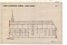 10001444 St. Maria- of Noorderkerk, nieuwe toestand, lengte doorsnede, Hoorn, Kleine Noord 32, ongedateerd
