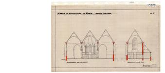 10001445 St. Maria- of Noorderkerk, nieuwe toestand, dwarsdoorsneden over de beuken, dwarsdoorsnede over het koor, ...