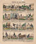 centpr.43 Gullivers reis naar Lilliput No 40. (in hoes met 40,41,42) (4 rijen van 4 ingekaderde prentjes met 4 en 5 ...