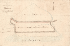 C19-36 Schetsteekening der grenzen van de Kleine Adriana Theodora Polder onder Ooltgensplaat , 1862