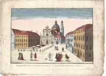 Optica 25 Prospetto della Chiesa di S. Giovanni in Parma (in hoes met Optica 24) (plein met passanten en kerk in het ...