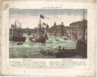 Optica 28 Philadelphia (in hoes met Optica 29) (haven met zeegaande schepen, sloepen en aken, met de stad R.B.), ca. 1770