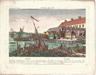 Optica 29 Salem (in hoes met Optica 28) (pakhuizen met houten kade en schip op voorgrond aan natuurlijke kade met ...