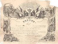 J19-73 Brevet als Prévôt (behaald door Jacobus Marinus van Eck), 1884