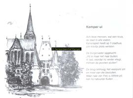 F005692 Optekening van Kamper Uien op rijm, de Bovenkerk . Tekening: Jan v.d. Starre, tekst Henk de Koning.