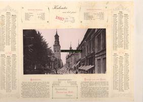 F001268 Oudestraat, gezien ter hoogte van de Plantage, richting Nieuwe Toren; afbeelding op kalender voor het jaar 1887.