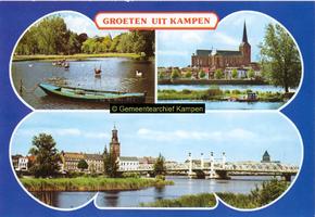 F005691 Verzamelkaart van Kampen met afbeeldingen van het plantsoen, de Bovenkerk en Stadsfront.