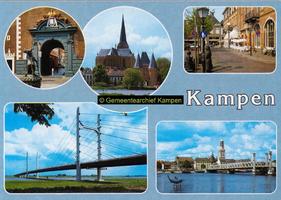 F005680 Verzamelkaart van Kampen met 5 afbeeldingen van o.m. doorgang Nieuwe Toren, de Bovenkerk en Koornmarktspoort, ...