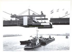 F004759 Aanbrengen van het laatste segment van de Nieuwe IJsselbrug.