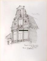 F000818 Topgevel perceel Graafschap hoek Korte Heilige Steeg nr. 28, bekend als het Huis met de dolfijnen uit 1663. .