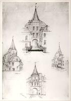 F000858 Viertal tekeningen van de Hagenpoort, gezien vanuit noord-, oost-, west- en zuidzijde.