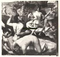 F001439 Detailfoto van het schilderij Het laatste Oordeel van Ernst Maler boven het Schepengestoelte in de Schepenzaal ...