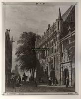 F001336 Foto van een schilderij door Cornelis Springer 1817 - 1891. Het oude Raadhuis aan de Oudestraat met trapopgang, ...