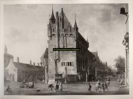 F001297 Schilderij van Johannes Abrahamsz Beerstraaten, 1622 - 1666. Het Oude Raadhuis te Kampen . Helemaal rechts is ...