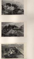 F001060 Een drietal erven op het Kampereiland: 35, 36 en 37, met boerderijen schuren en hooibergen.
