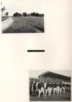 F001049 Twee foto's, bovenste foto: erf 23 op het Kampereiland uit juli 1955, onderste foto: veekeuring uit 1949 met ...