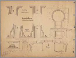 K001202 Brug bij het Bregittenplein, aanbesteed 5 februari 1894 (opstanden en details) get. A.J. Reijers.Behoort bij ...