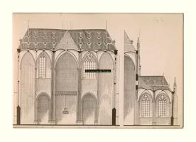 F004267 Dwarsdoorsneden van twee gedeelten der Bovenkerk.