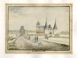 K000574 De oude Veenpoort, getekend door J. Schinkel 1805, op de achtergrond de Boven- of Sint Nicolaaskerk.