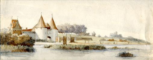 K001666 De Venepoort te Kampen, 27 juni 1763 door J. Swertner.Swertner was een rondreizende Haarlemse kunstenaar en ...