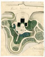 K000552 Situatie-kaartje van de nieuwe Stadsherberg (Buitensociéteit) en van het daarbij gelegen plantsoen met ...