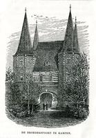 K000698 De Broederpoort aan de plantsoenzijde (1e helft 20e eeuw). Op de achterzijde staat een afbeelding van de ...