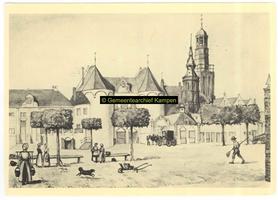 F004564-2 De Vispoort aande buitenzijde, rechts de Nieuwe Toren en het torentjes van het Oude Raadhuis.