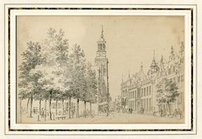 K000665 De Nieuwe Toren en het Oude (met trap) en het naastgelegen Nieuwe Raadhuis aan de Oudestraat te Kampen in het ...