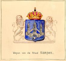 K001692 Wapen van de stad Kampen. Van lazuur beladen met een burg, voorzien met 3 torens door een ringmuur vereenigd en ...