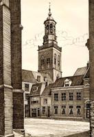 K000729 Pentekening van een aantal woningen rond de Botermarkt en de Nieuwe Toren, getekend en gesigneerd J. Bast 1965.