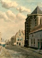 K000115 De Doopsgezinde kerk, ook Anna kapel genoemd op de hoek Groenestraat - Broederweg, aan de overzijde één van de ...