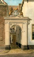K000154 Toegangspoort van het linnenweversgilde uit 1665 in de Groenestraat, wijk III nummer 160 te Kampen, een aquarel ...