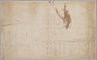 K001318 Bouwtekening van de huidige Van Heutszkazerne aan de Oudestraat (opstanden, plattegronden en doorsneden).