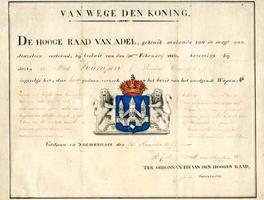 K000516 Afbeelding en beschrijving van het wapen der gemeente Kampen, bevestigd door De Hooge Raad van Adel.