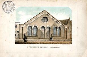 K000575 Straatzijde van de overdekte exercitieplaats aan de Buitennieuwstraat van de Van Heutszkazerne, getekend door ...