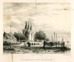 K000649 De St. Nicolaas- of de Koornmarktpoort aan de IJsseloever, een steendruk van J.D. Steuerwald uit 1858. Lit: E. ...