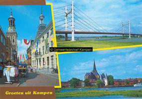 F005686 Verzamelkaart van Kampen met afbeeldingen van de Oudestraat, de Molenbrug en de Bovenkerk en Koornmarktspoort ...