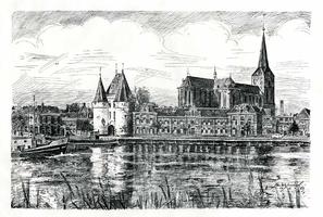 K000163 Gezicht op Kampen. De IJsselkade met Koornmarkpoort en omgeving, rechts de Bovenkerk. Gesigneerd: Jan Wilmink 1962.