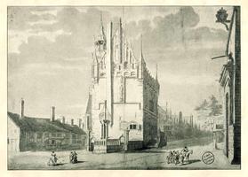 K000586 Gezicht op de noordgevel van het oude Raadhuis, getekend door Abraham Beerstraten.