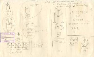 K000519 Monogrammen e.d. in de kap van de koepel (onder de bol) van de Nieuwe Toren ± 1920, mogelijk een schets van ...