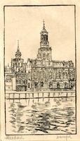 K000521 Centraal op de afbeelding het Sociëteitsgebouw 't Collegie ca. 1930, links café de Unie en achter het gebouw ...