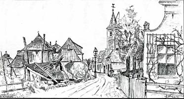 K000580 Dorpsweg te IJsselmuiden ter hoogte van de Nederlands Hervormde kerk rond de 2e helft van de 19e eeuw/begin 20e ...