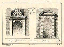K000530 'Poortjes te Kampen', links het poortje van het linne-weevers-gilde uit 1665 aan de Groenestraat, en rechts een ...