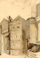 K000116 Geaquarelleerde tekening van het interieur van de Schepenzaal bij het voorportaal.