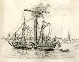 K000641 De stoomraderboot Drusus op de IJssel voor Kampen (19e eeuw).